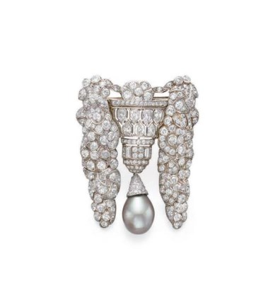 A DIAMOND AND PEARL BROOCH, BY