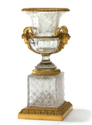 AN ORMOLU-MOUNTED AND CUT-GLAS