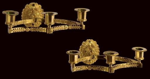 A PAIR OF EMPIRE ORMOLU THREE-