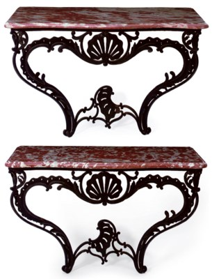 A PAIR OF LOUIS XV BLACK-PAINT