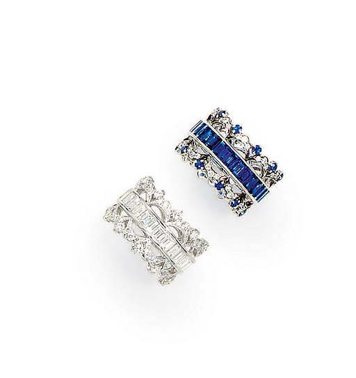 A PAIR OF SAPPHIRE AND DIAMOND BANDS, BY FRED LEIGHTON