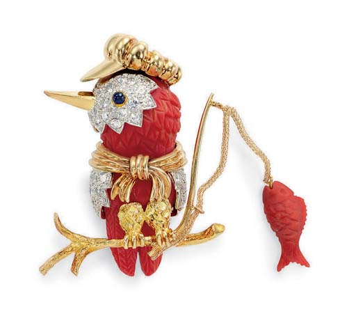 """**A CARVED CORAL, DIAMOND AND GOLD """"KINGFISHER"""" BROOCH, BY DONALD CLAFLIN, TIFFANY & CO."""