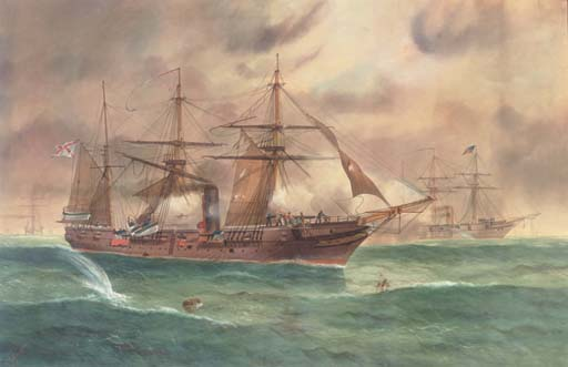 A Civil war battle between a Confederate and Union Navy warships