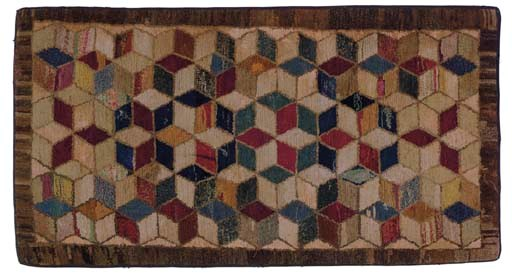 A COTTON AND WOOL HOOOKED RUG