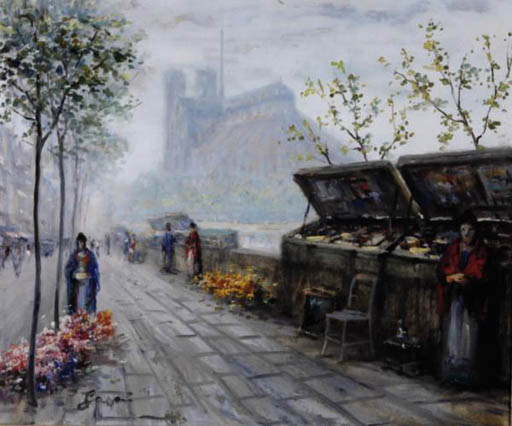 Bookstalls along the Seine; and a companion painting