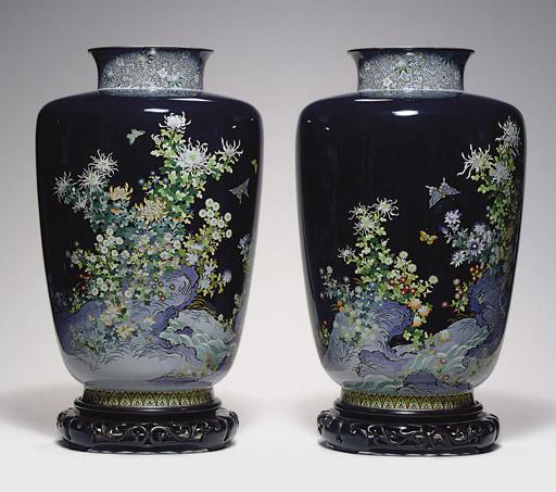 A Pair of Cloisonné Enamel Vases