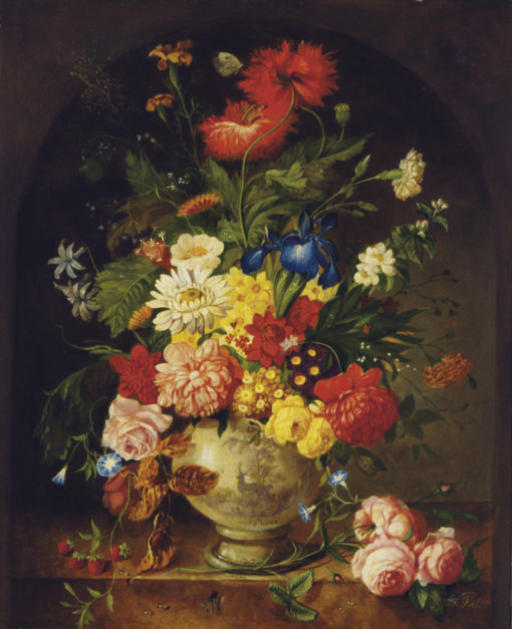 Floral still life with strawberries on a ledge
