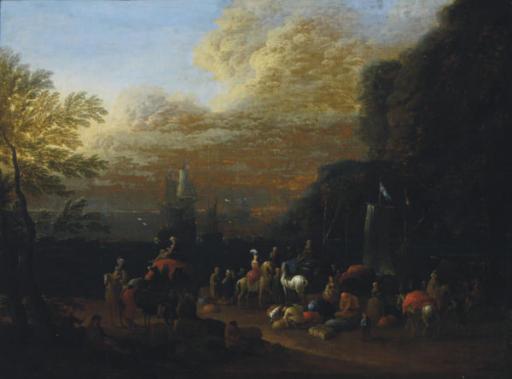 Elegant figures on camel and horseback in a Mediterranean port