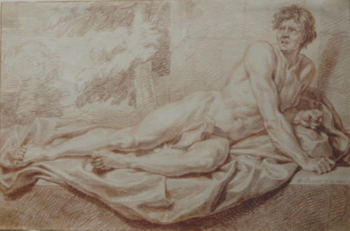 A male nude reclining on a ledge