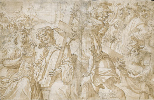 Christ carrying the Cross supported by Simon of Cyrene, with Saint Veronica holding the shroud
