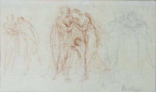 The Meeting of Anne and Elizabeth (recto); Study of an arm and hand holding a stick (verso)