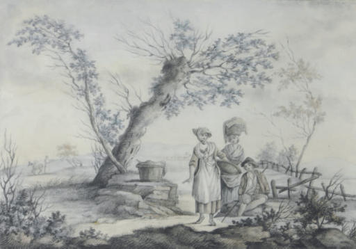Figures in pastoral setting