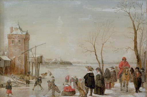 A winter landscape with kolf players