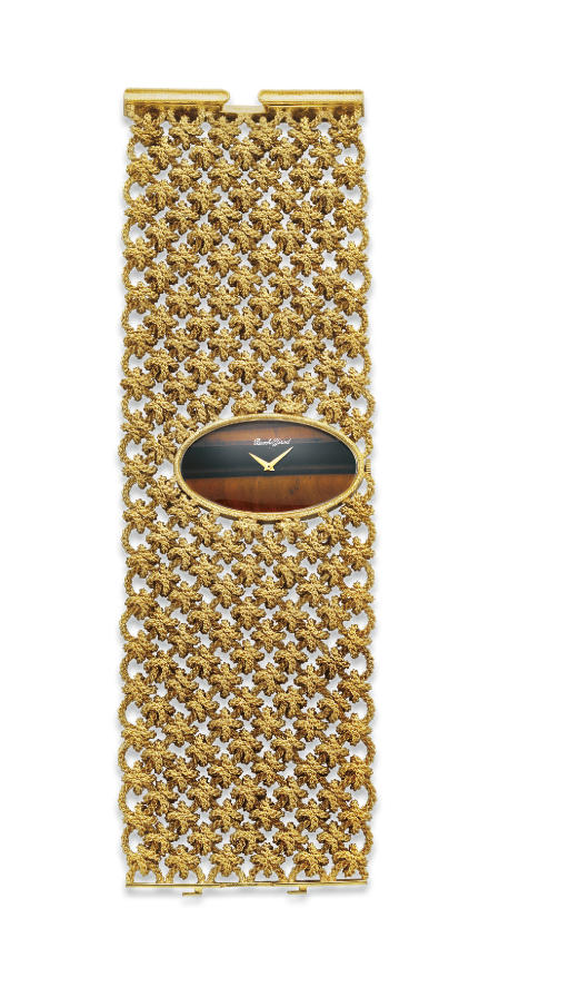 A TIGER'S EYE AND GOLD WRISTWATCH, BY BUECHE GIROD