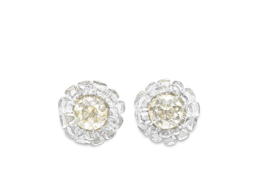 AN ELEGANT PAIR OF DIAMOND FLOWER EAR CLIPS, BY BHAGAT