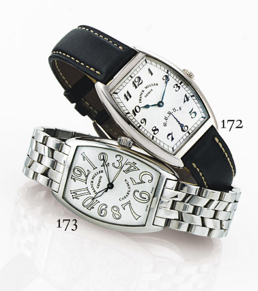 FRANCK MULLER. A STAINLESS STEEL TONNEAU AUTOMATIC WRISTWATCH WITH CENTER SECONDS AND BRACELET