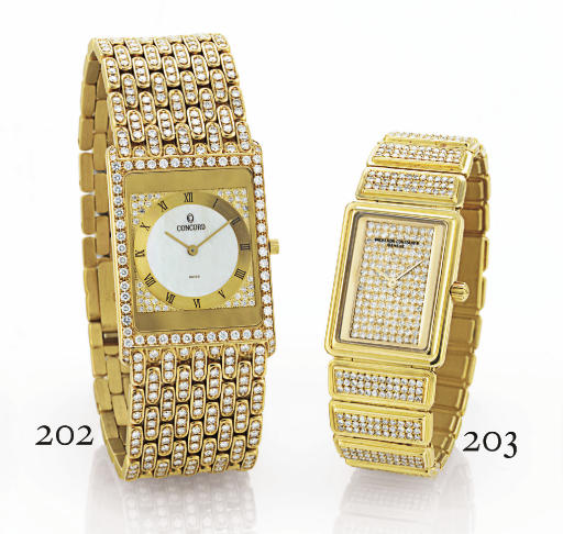 CONCORD. AN 18K GOLD, DIAMOND AND MOTHER-OF-PEARL RECTANGULAR ULTRA-THIN WRISTWATCH WITH BRACELET