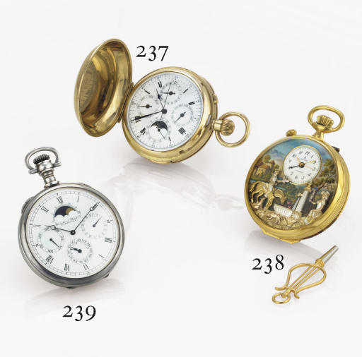 REUGE. A GOLD-PLATED OPENFACE KEYLESS LEVER WATCH WITH ALARM, CENTER SECONDS AND MUSICAL AUTOMATON