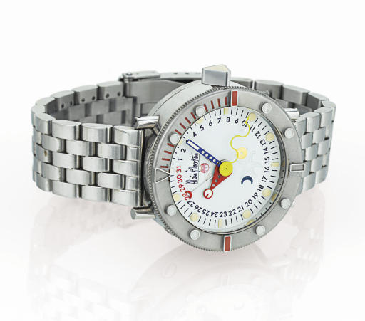 ALAIN SILBERSTEIN. A LIMITED EDITION STAINLESS STEEL AUTOMATIC PERPETUAL CALENDAR WRISTWATCH WITH CENTER SECONDS AND BRACELET