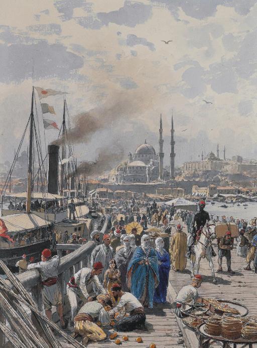 The Old Galatea Bridge connecting Karakoy to Eminonu Over the Golden Horn, Istanbul
