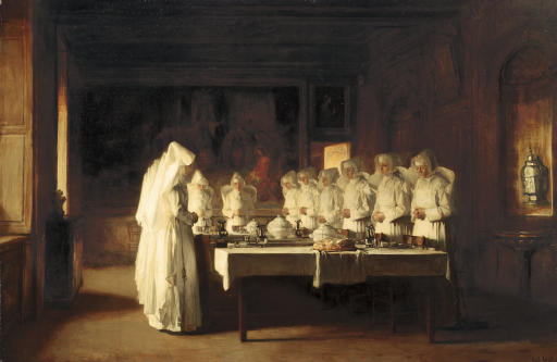 Sisters of Charity Saying Grace Before a Meal at the Hospice in Beaune, France, (Le Benedicté)