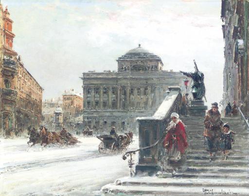 Warsaw in Winter: A Street Scene near the Opera