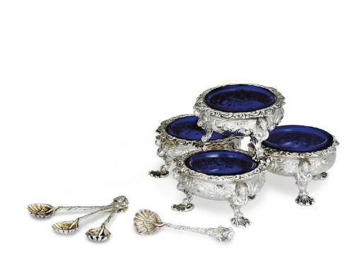 A SET OF FOUR REGENCY SILVER SALT CELLARS