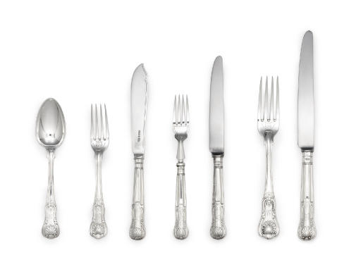 AN ASSEMBLED ENGLISH SILVER TABLE SERVICE