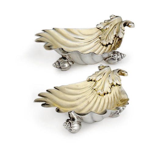 TWO GEORGE III/GEORGE IV SILVER SHELL-FORM SALT CELLARS