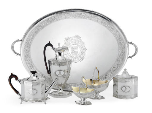 A GEORGE III SILVER FIVE-PIECE TEA AND COFFEE SERVICE WITH TRAY