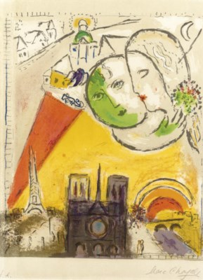 Marc chagall le dimanche from derri re le miroir m 98 for Marc chagall derriere le miroir
