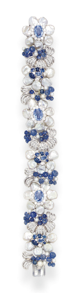 A SAPPHIRE, DIAMOND AND FRESHWATER PEARL BRACELET, BY SEAMAN SCHEPPS