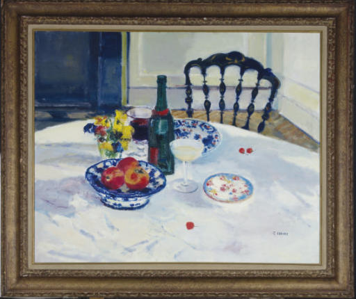 Still life with fruit, flowers and wine