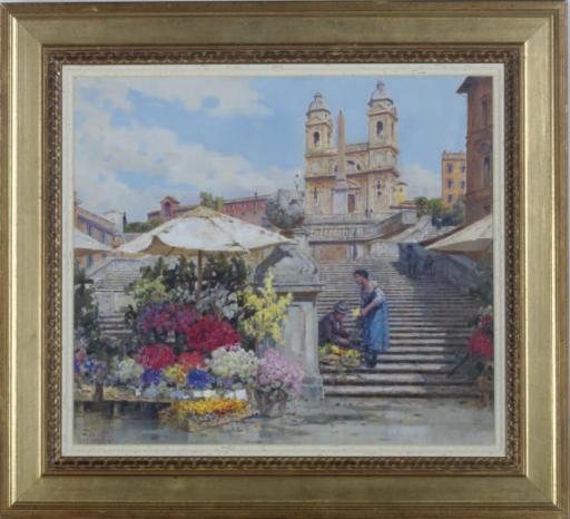 A flower seller on the Spanish Steps, Rome