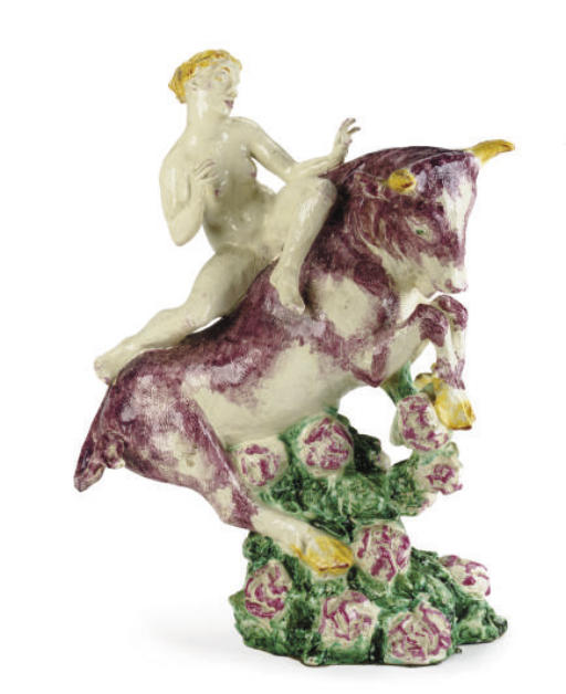 A DANISH STONEWARE FIGURAL GROUP OF EUROPA AND THE BULL,