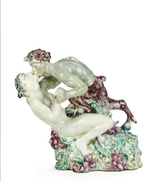 A DANISH GLAZED STONEWARE FIGURAL GROUP OF A FAUN AND MAIDEN,