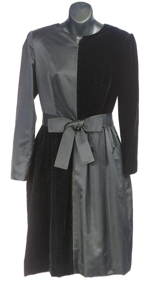 A BILL BLASS BLACK SATIN AND VELVET COCKTAIL DRESS,