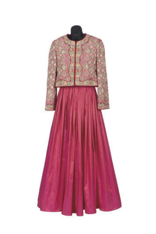A BILL BLASS ROSE BEADED AND TAFFETA TWO-PIECE EVENING ENSEMBLE,