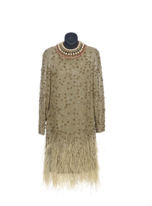 A BILL BLASS TAUPE SEQUIN AND BEADED CHIFFON COCKTAIL DRESS,