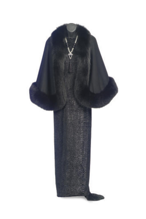 A BILL BLASS BLACK CHIFFON EVENING GOWN,