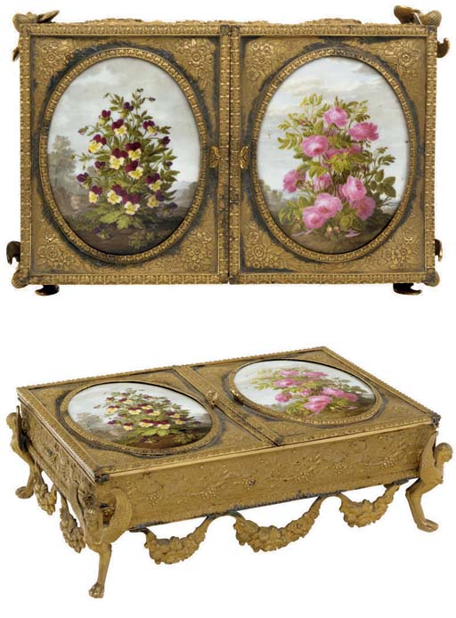 A French ormolu and Paris (Dihl & Guérhard) porcelain-mounted table casket