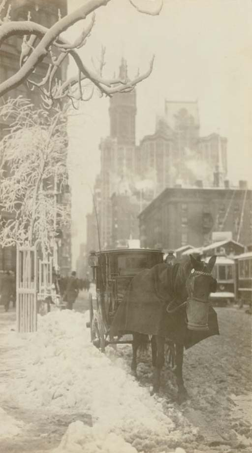 Untitled (Carriage on snowy street, New York; and Gathering of fisher folk), c. 1910