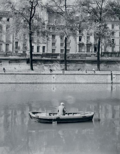 Fishermen on the Seine, Paris, 1950