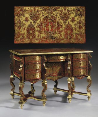 a louis xiv ebony brass and red tortoiseshell boulle marquetry bureau mazarin attributed. Black Bedroom Furniture Sets. Home Design Ideas