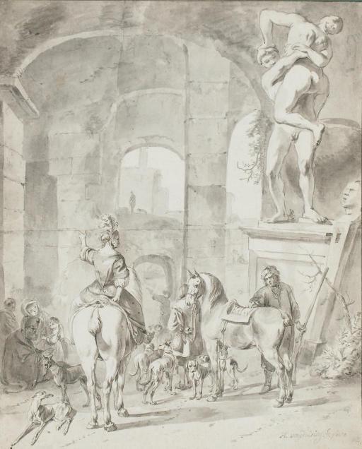 Hommes, femmes et enfants avec des chevaux et des chiens à l'entrée d'une ville, une sculpture de l'enlèvement d'une Sabine sur la droite
