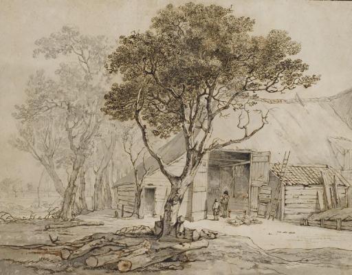 Deux hommes devant une étable entourée d'arbres