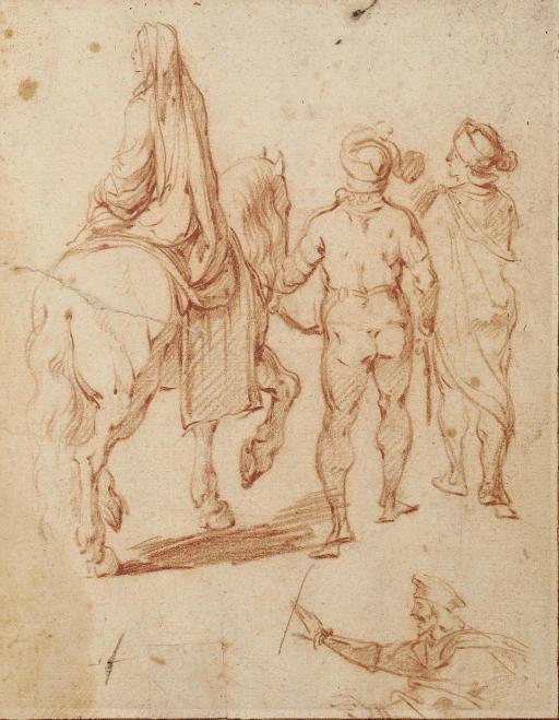 Une femme sur un cheval tenu par deux hommes vus de dos, étude subsidiaire d'un homme en buste