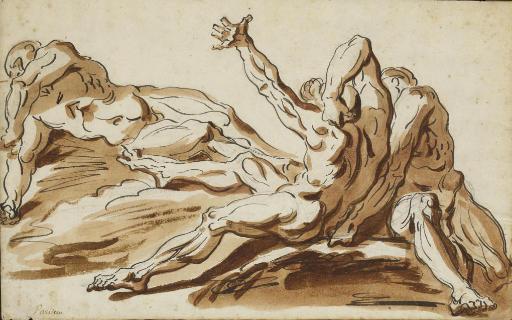 Etude de trois hommes nus à demi-allongés (recto); Un homme barbu assis et une étude de visage de profil (verso)