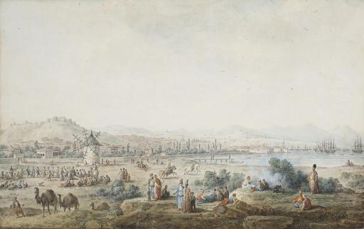 Vue de la ville de Smyrne, avec des orientaux, des dromadaires et des chevaux, un moulin au premier plan