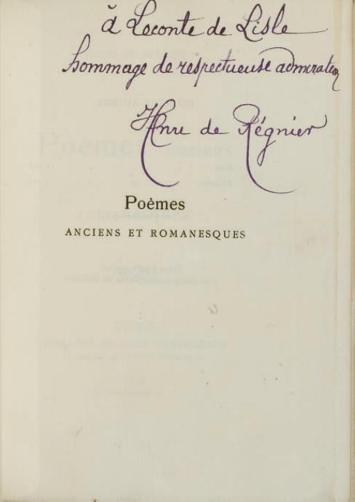 RÉGNIER, Henri de (1864-1936). Poèmes anciens et romanesques. 1887-1889. Paris: Librairie de l'Art indépendant, 1890.